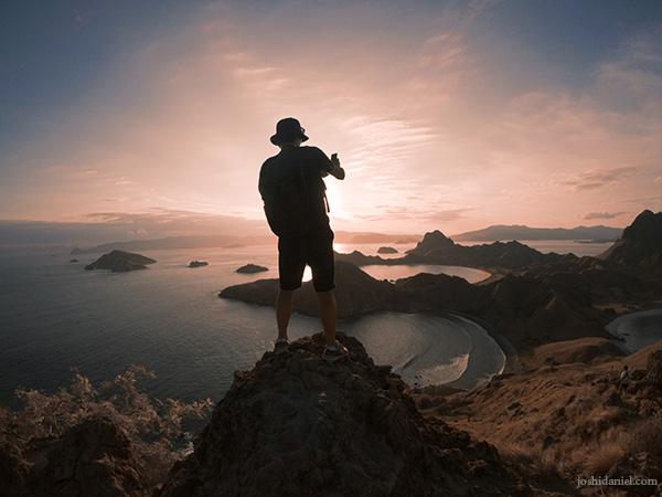 Miyase Koichi shooting a photograph at Padar Island, Indonesia