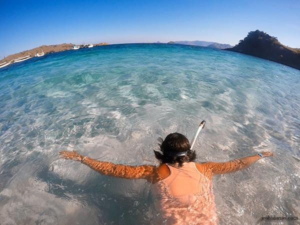 Jiyeon Juno Kim snorkelling at Pink Beach in Indonesia