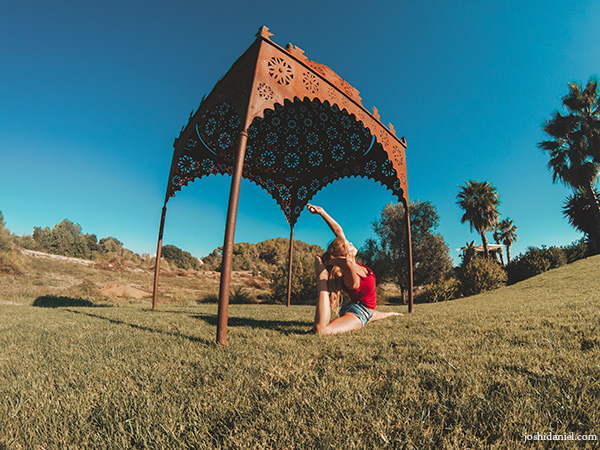 A GoPro photo of Swedish pilot Malin Rydqvist doing yoga in Mallorca, Spain