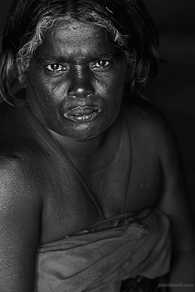 Black and white portrait of an Irula tribe woman of Attappadi in Palakkad district of Kerala, India