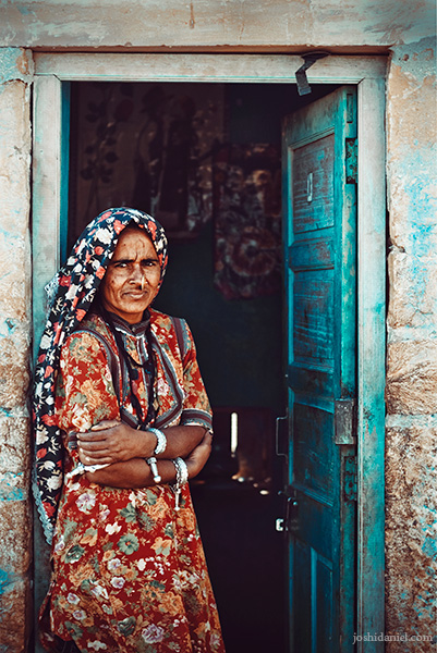 Portrait of a Rajasthani woman in traditional attire from Kuldhara