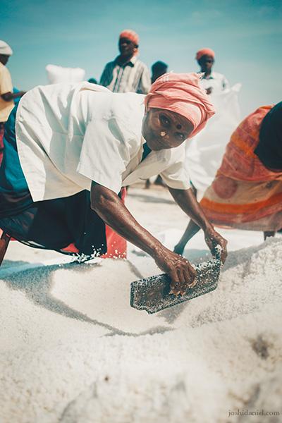 Portrait of a smiling salt pan worker at Marakkanam, Villupuram, Tamil Nadu, India