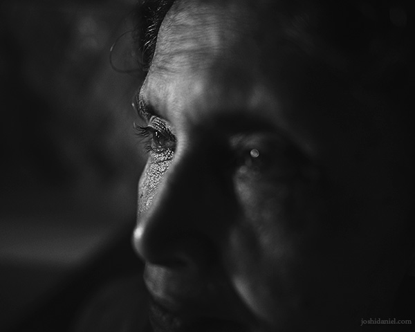 Black and white portrait of my mother taken using a 28mm wide angle lens