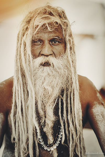 Portrait of a sadhu at the Kumbh Mela in Trimbakeshwar, Maharashtra, India