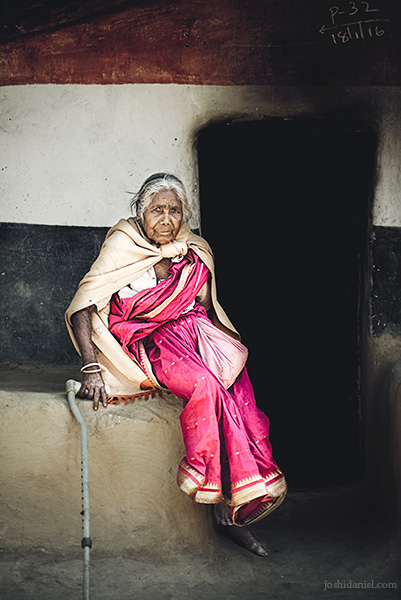 Portrait of an old lady in Idukki, Kerala, India