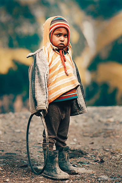 Portrait of a cute boy from Himachal Pradesh, India