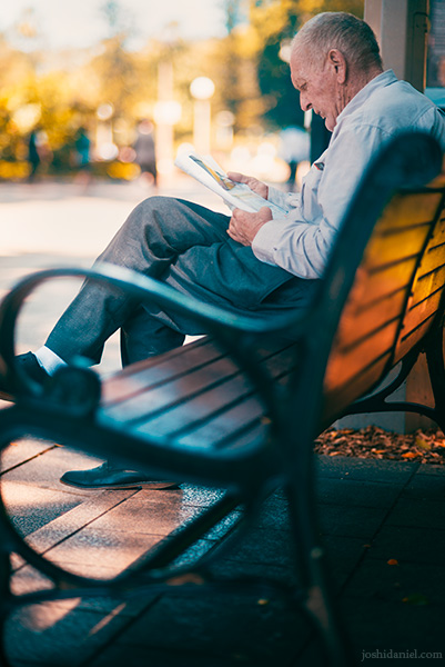 An old man reading at Hyde Park, Sydney, New South Wales, Australia
