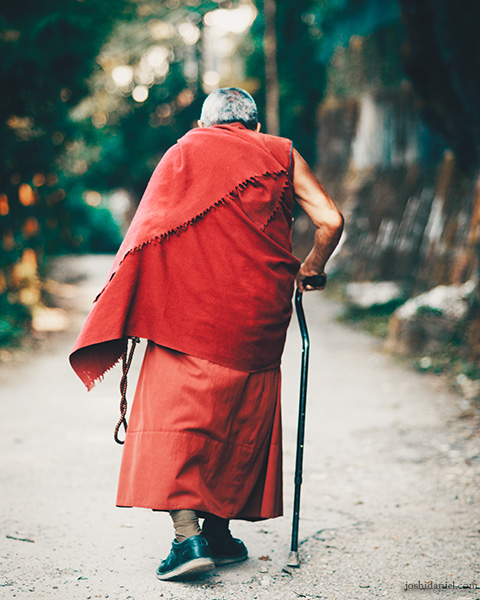 An old Buddhist monk walking in Mcleod Ganj, Himachal Pradesh, India