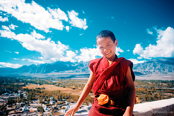 A smiling little monk from Thiksay Monastery, Thiksey, Ladakh, Jammu and Kashmir, India