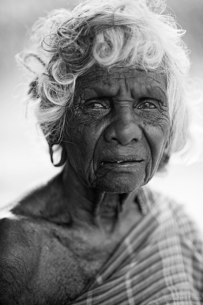 Black and white portrait of an old lady in Mangulam, Madurai, Tamil Nadu, India