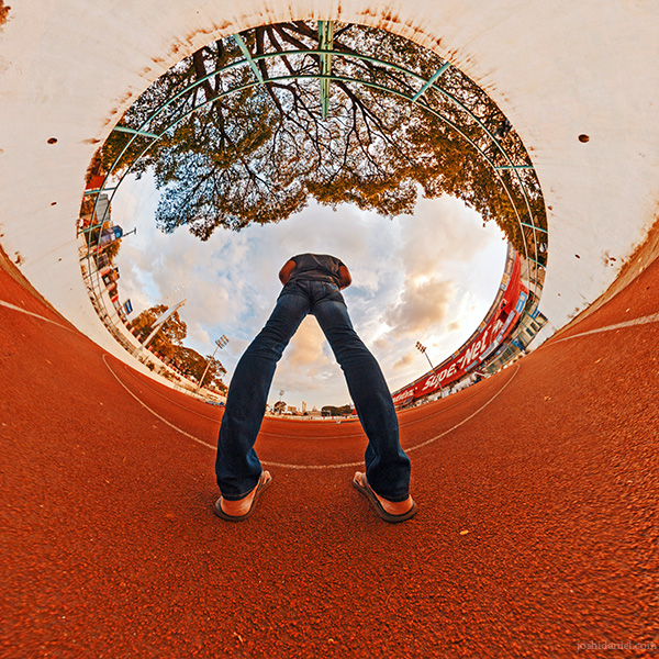 An inverted little planet (tiny planet) self-portrait of joshi daniel taken with a GoPro Fusion 360 degree camera in Chandrashekaran Nair Stadium, Trivandrum, Kerala, India