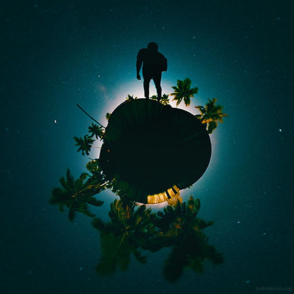 Little planet (tiny planet) self-portrait of joshi daniel taken with a GoPro Fusion 360 degree camera in Trivandrum, Kerala, India