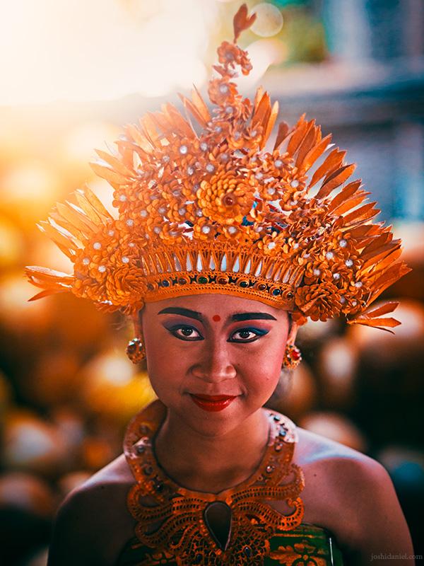 Portrait of a smiling Pendet dancer in Ubud, Bali, Indonesia
