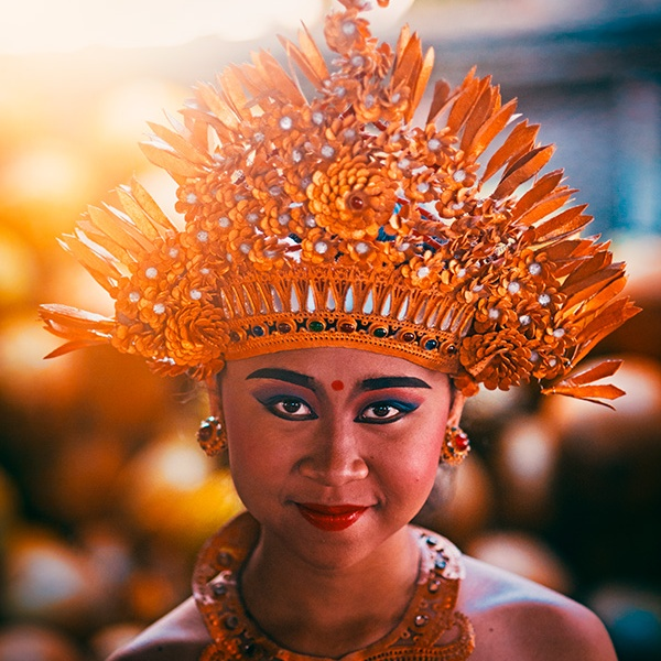 Portrait of a smiling Pendet dancer in Ubud, Bali, Indonesia