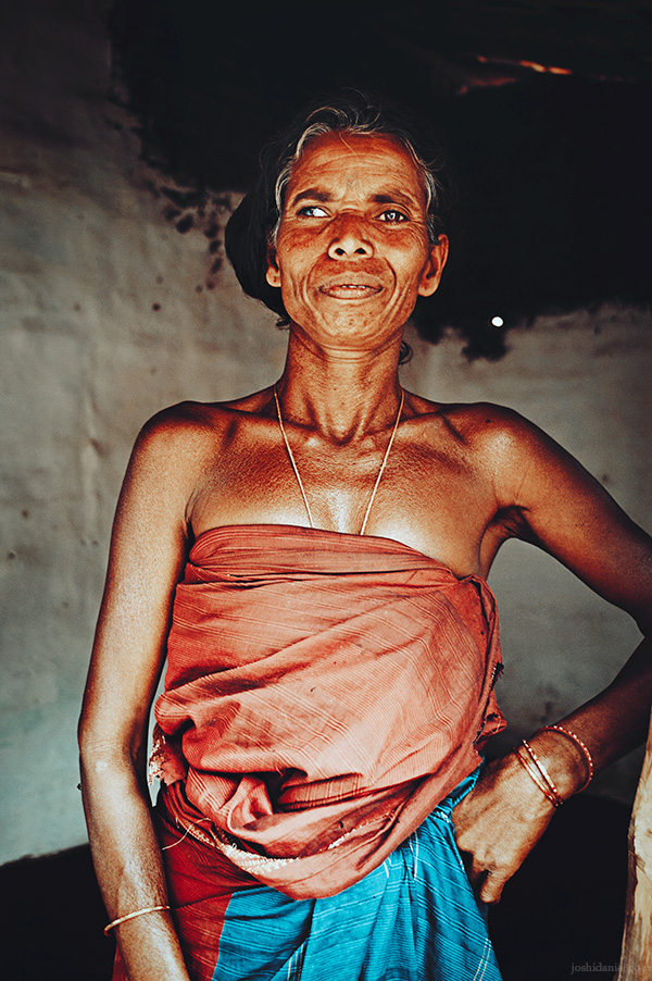 Portrait of an Irula tribe woman of Attappadi in Palakkad district of Kerala, India