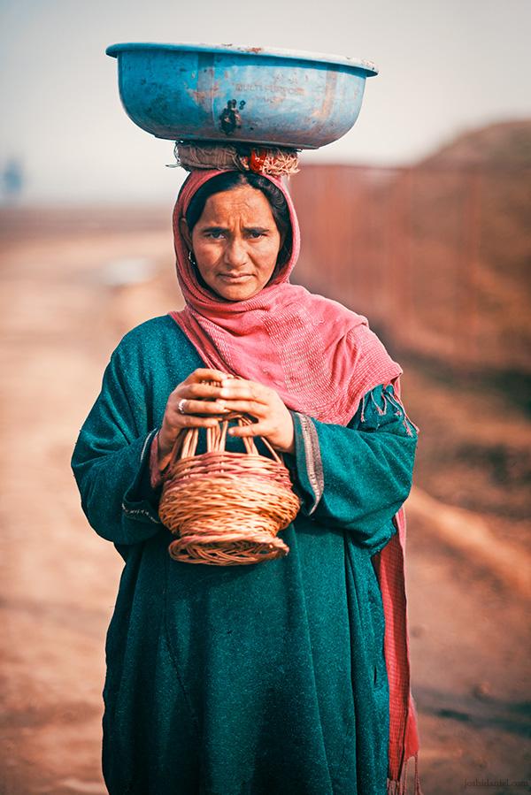 Portrait of a Kashmiri woman with Kangri in Lolab Valley, Kupwara, Jammu and Kashmir, India