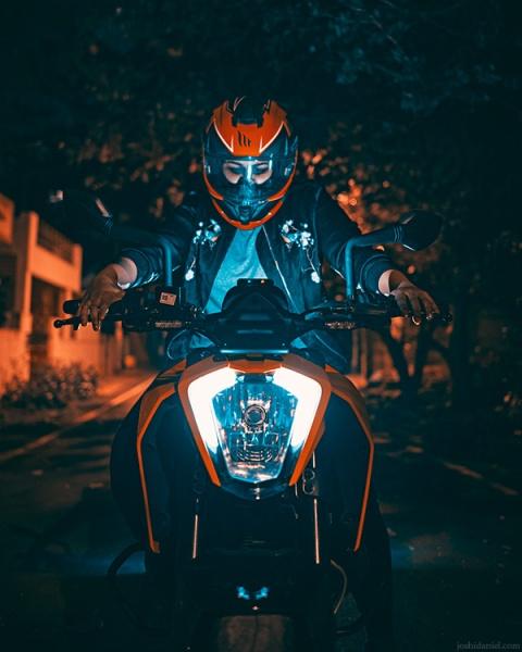 Parvathy Krishnan on her KTM Duke 250 motorbike in Bangalore, Karnataka, India
