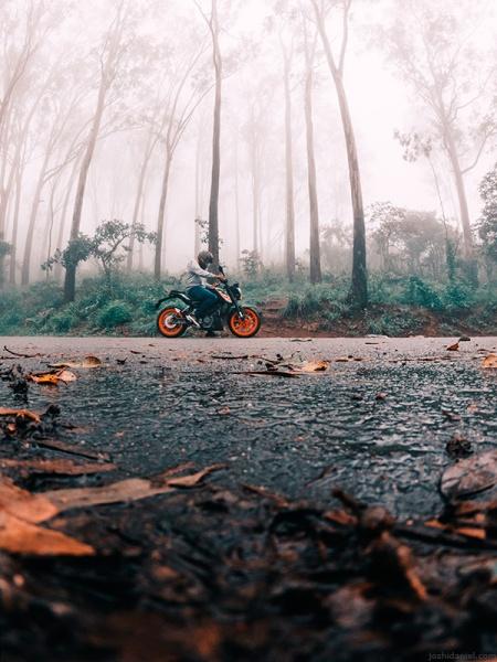 GoPro self-portrait of joshi daniel on a KTM Duke in Nandi hills, Karnataka, India on a foggy day