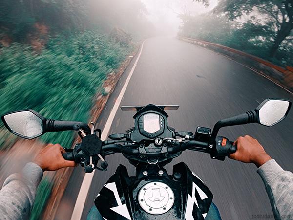 GoPro self-portrait of joshi daniel riding a KTM Duke to Nandi hills, Karnataka, India on a foggy day