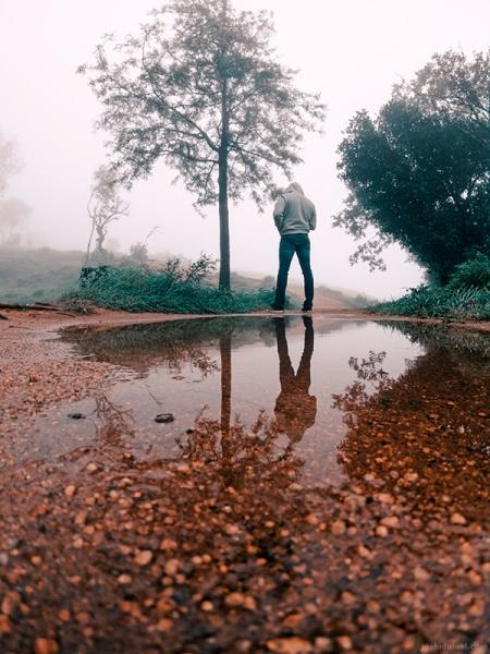 GoPro self-portrait of joshi daniel in Nandi hills, Karnataka, India on a foggy day