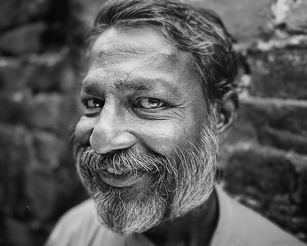 A 28mm wide angle black and white portrait of Murugan from Trivandrum, Kerala, India