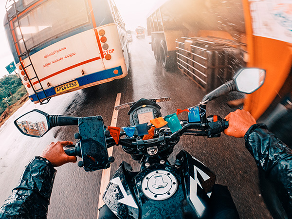 GoPro self-portrait of joshi daniel riding KTM Duke in the rain in Naidupet, Andhra Pradesh, India