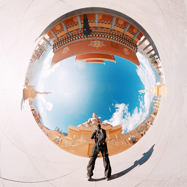 Inverted little planet (tiny planet) self-portrait of joshi daniel at Buddha Dordenma, Kuenselphodrang, Thimphu, Bhutan